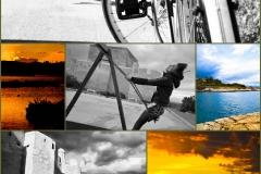 Collage foto tramonto, mare e nozze
