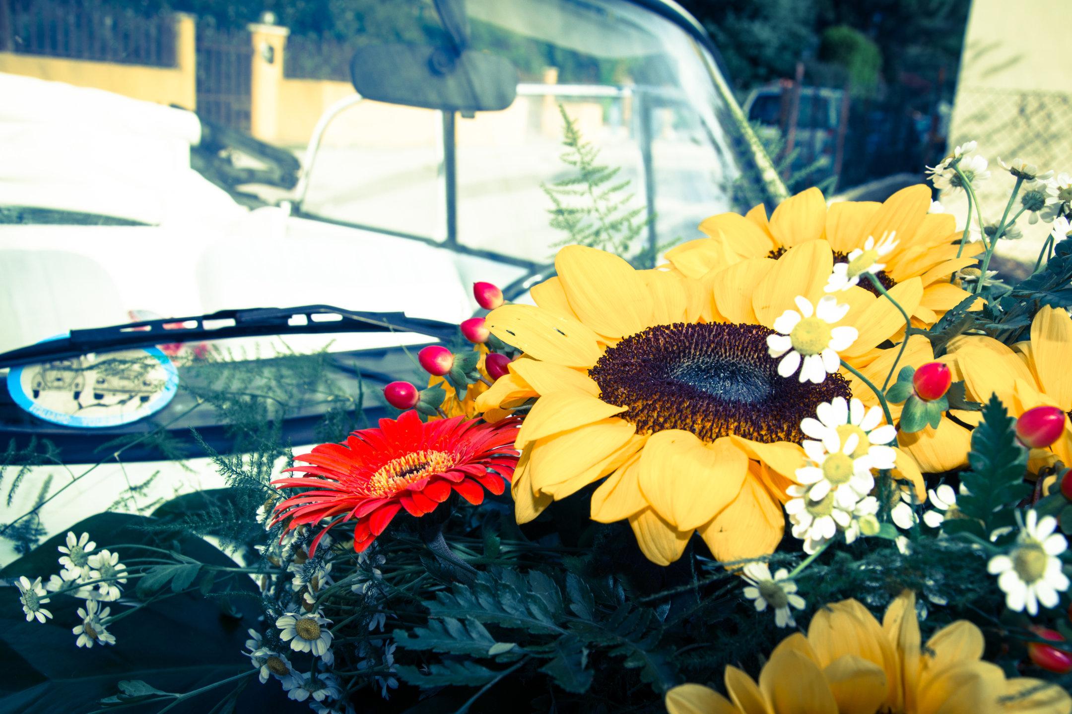 Fiori sull'auto da matrimonio