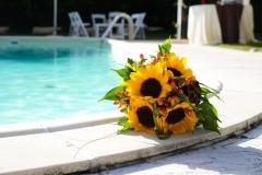 Fiori su bordo piscina