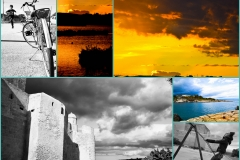 Collage foto tramonto e matrimonio