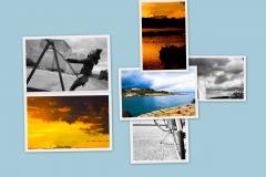 Pila di immagini con tramonti e paesaggi